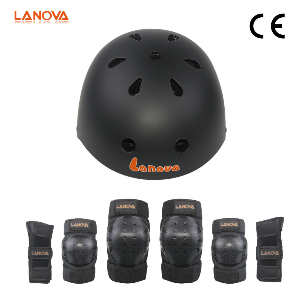 LANOVA Kids Youth Protective Gear Set Knee Elbow Pads with Wrist Guards Bicycle Helmet for Cycling Skateboarding Rollerblading цены онлайн