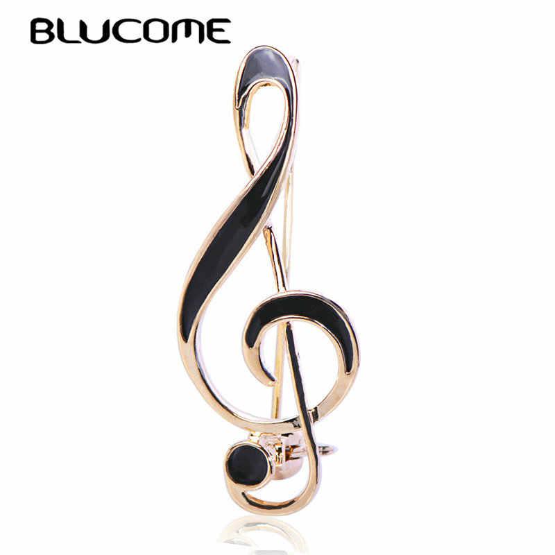 Blucome ファッション音符ブローチゴールドカラーエナメルジュエリー服スカーフ帽子スーツラペルピン音楽記号バッジ