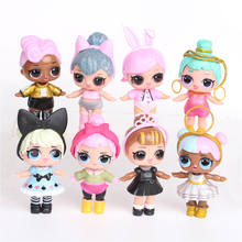 8 pcs 7-9 cm LOL Vampirina Desembalar Bonecas Dos Desenhos Animados Do Bebê Glitter Dolls Figuras de Ação Brinquedos Anime Para O Miúdo festa de aniversário Gif