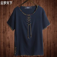 Free Shipping Linen Male Big O Neck T Shirt Chinese Style Fat Guy Plus Size Men