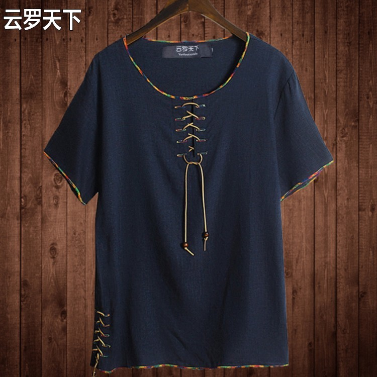Free shipping Linen male big o-neck t shirt Chinese style fat guy plus size men's Casual short-sleeve T-shirt 7XL 8XL 10XL 165cm
