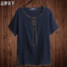 Freies verschiffen Leinen männlichen großer oansatz t-shirt Chinesischen stil fett kerl plus größe männer Beiläufige kurzhülse T-shirt 7XL 8XL 10XL 165 cm