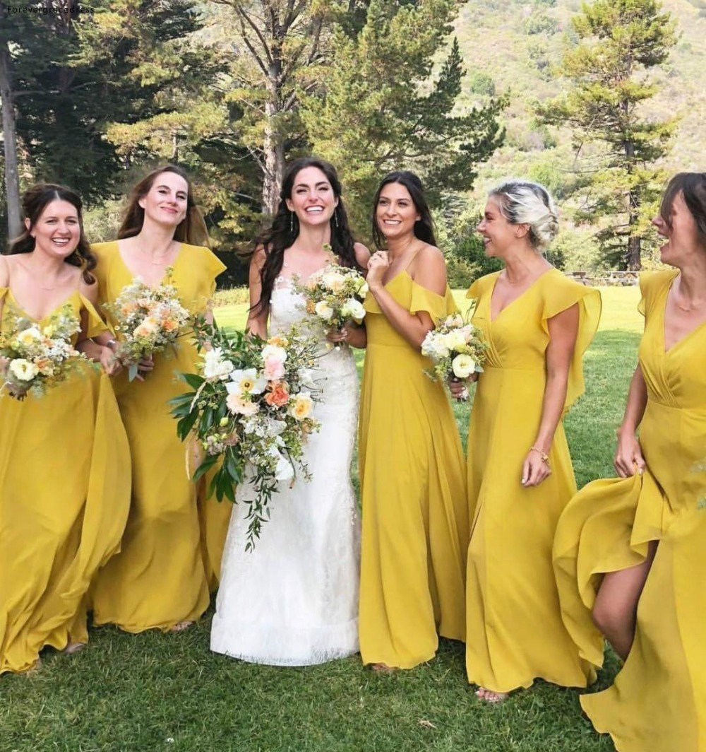 Long Yellow Bridesmaid Dresses 2019 Bohemian Summer Country Garden Wedding Party Guest Maid of Honor Gowns Plus Size Custom Made