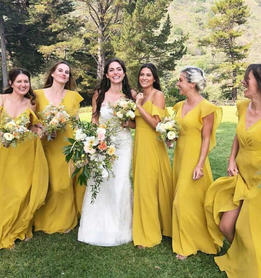 Long Yellow Bridesmaid Dresses 8 Bohemian Summer Country Garden Wedding  Party Guest Maid of Honor Gowns Plus Size Custom Made