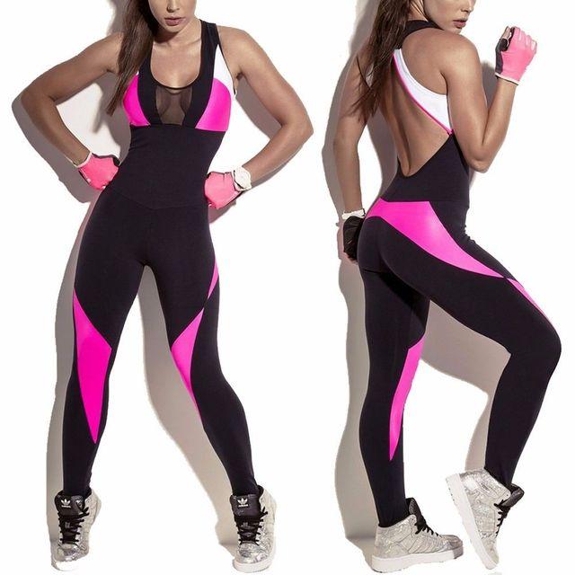 Fittoo женский, черный Одежда для бега Sexy v-образным вырезом спинки бинты комбинезон без рукавов спортивный костюм Фитнес Йога комплект S-XL