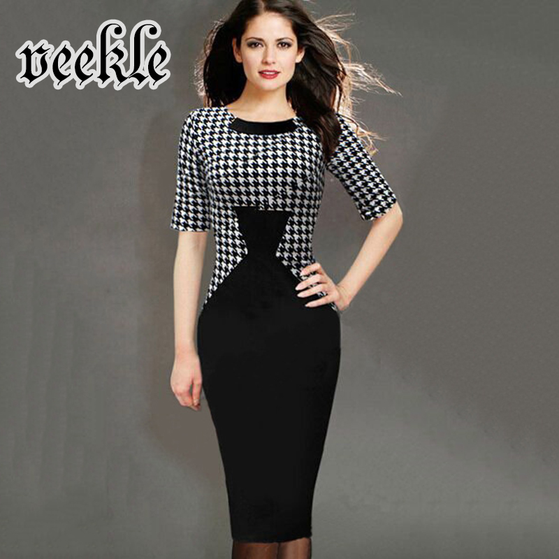 Womens 2016 Elegant Vintage Houndstooth Patchwork Slim Work Office Business Casual Party Bodycon Pencil Dress font