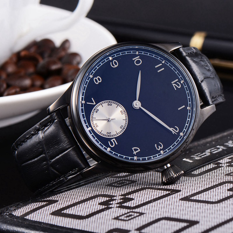 44mm  Men Hand Winding watch blue Sterile Dial Silver Subdial 6498 Movement 6497 316L SS case mens Mechanical WristWatches