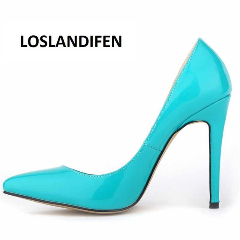 LOSLANDIFEN Pumps Sexy Pointed Toe High Heels Women Pumps Shoes New Spring Brand Design Wedding Shoes Pumps EU SIZE 35-42