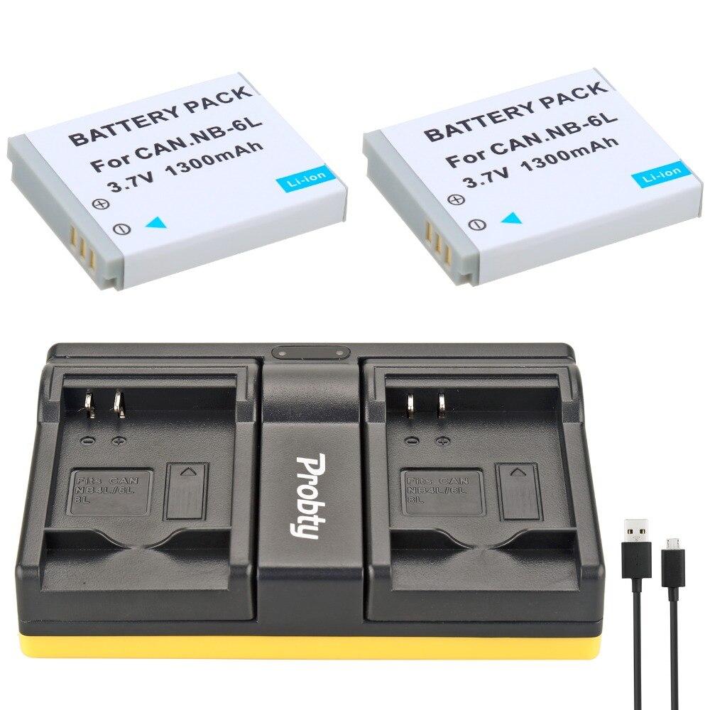 Prix pour Probty 2 PCS NB-6L NB 6L Batterie D'appareil Photo + USB Double Chargeur pour Canon SX510 SX170 SX600 SX700 S120 S200 HS SX280 SX260 SX500