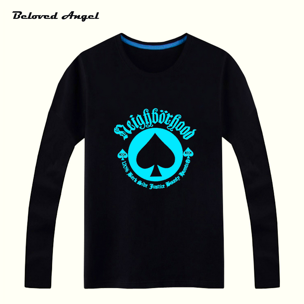 Beloved Angel New Design Blu-ray Kids Long Sleeves Tops Neon Print Shine Children Boys Girls T Shirt Darkness Luminous Top Tees grey crossed front design cut out long sleeves t shirt