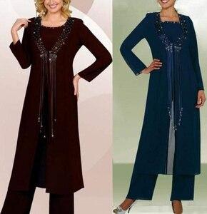Image 3 - נשים 3 חתיכות אלגנטי ואגלי ציצית שיפון אמא של הכלה שמלת מכנסיים חליפה עם מעיל תלבושת לחתונה חתן 2019