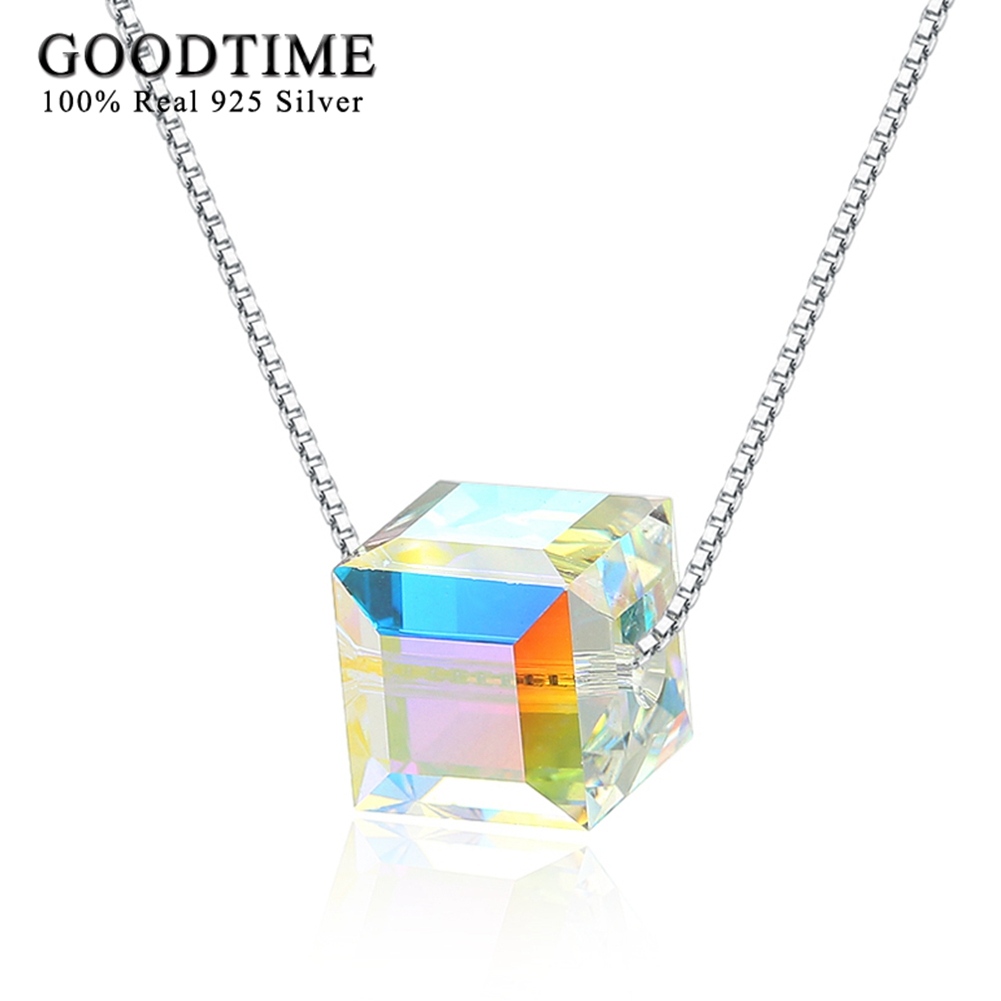 Ručně vyráběné náhrdelníky ženy 925 mincovní stříbro box řetězu křišťálové krychle přívěsek náhrdelníky stříbro 925 šperky šperky přátelé dárky