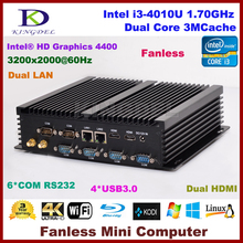 Fanless mini industrial pc, Intel Core i3 4010U 1.7Ghz CPU, 4GB RAM+64G SSD, 2 HDMI 2 Gigabit LAN 6 COM WiFi,Windows os
