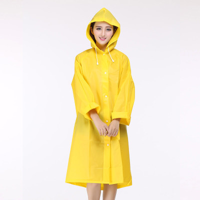 Outdoor Adult Men and Women Fashion Waterproof Raincoat Translucent Frosted Thick Eva Girl Hooded Rain Coat for Women Poncho