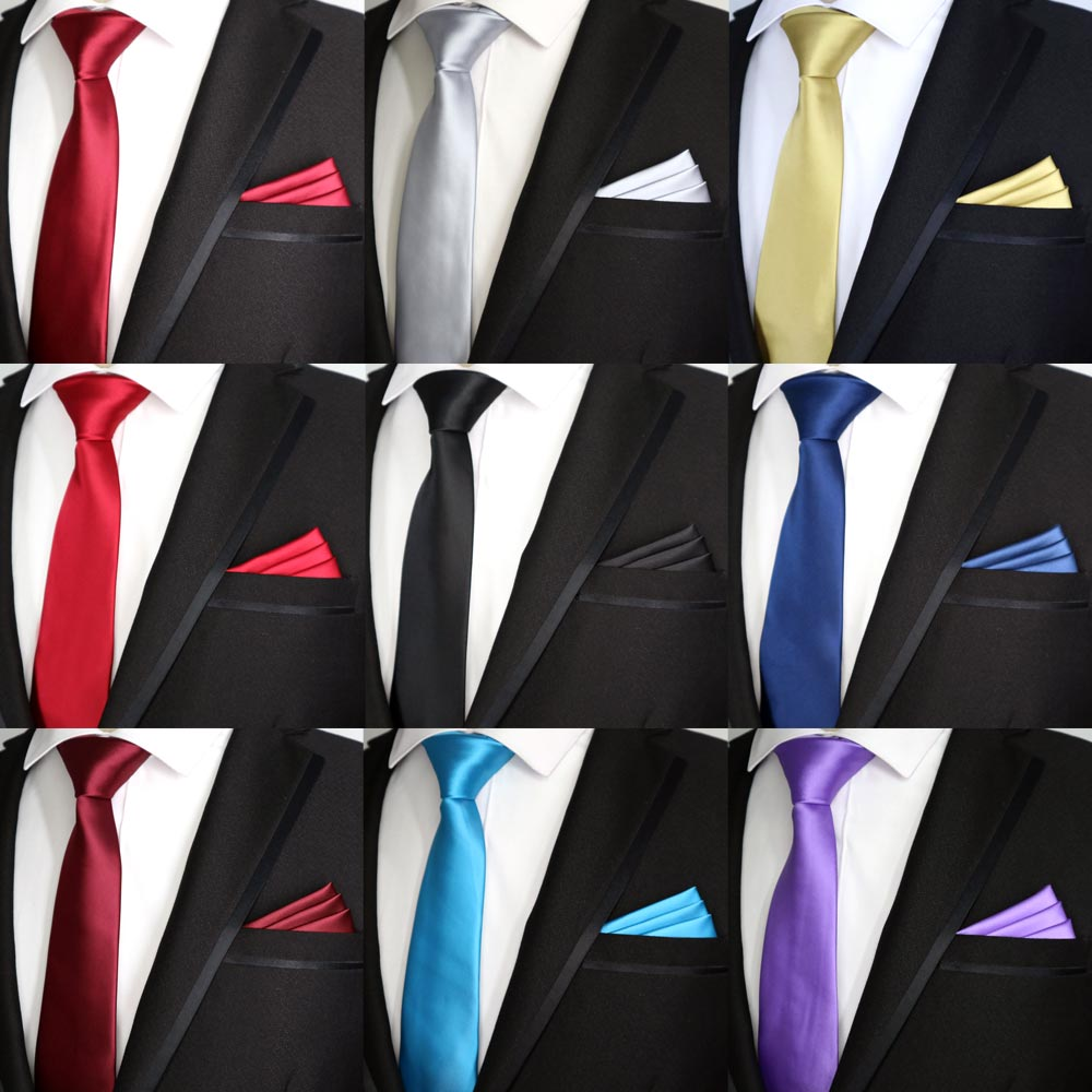 21 Color NEW 7CM Men Tie Set Skinny Polyester Silk Solid Plain Design  Slim Ties Pocket Square Sets Necktie Red Black Party