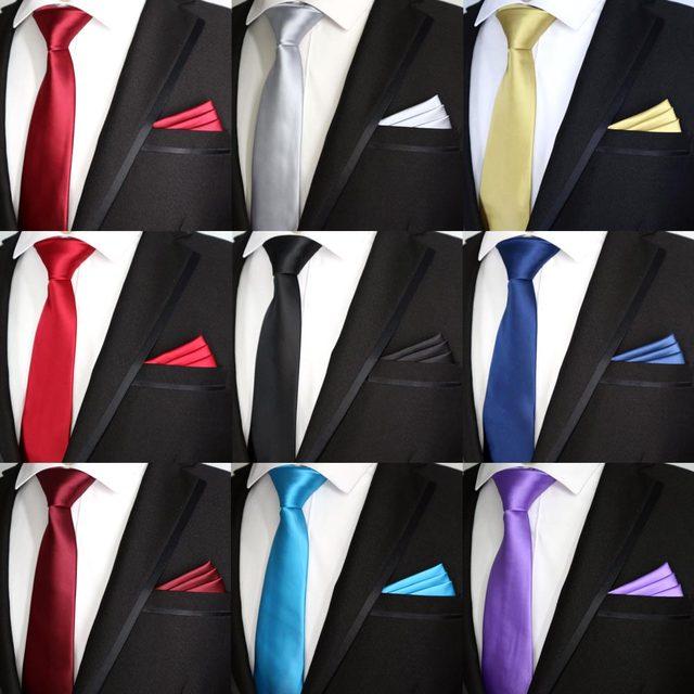 cd2a7650f488e 21 Color NEW 7CM Men Tie Set Skinny Polyester Silk Solid Plain Design Slim Ties  Pocket