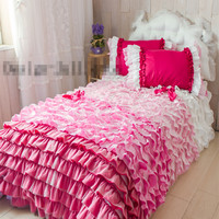 Cake layers bedding set twin full queen king size ruffle princess bedspread romantic pink wedding lace bed skirt free shipping