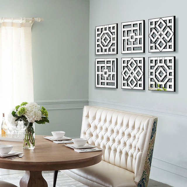 Morden Wall Mirror Square Mirror Mirrored Wall Decor Fretwork Mirror Wall  Art D F1308