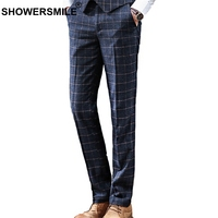 SHOWERSMILE Men Plaid Dress Pants Navy Checkered Trousers Male Slim Fit Blue Tartan Spring Autumn British