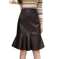 2018 New Autumn Winter Sexy Lace Up Split Ruffle Female Skirt Elegant Mida Short Empire Bodycon Mermaid Fishtail Women's Skirt