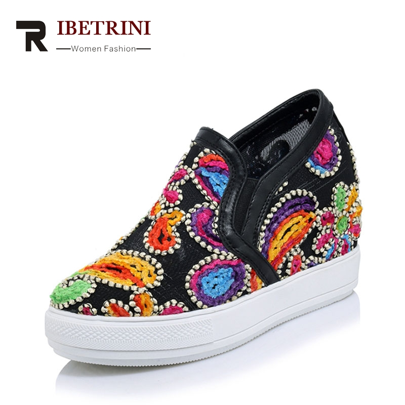 RIBETRINI 2018 spring and autumn platform flower loafers with increase internal sewing women shoes for leisure plus size 32-45 мужские ботинки spring autumn hightop size38 45 2