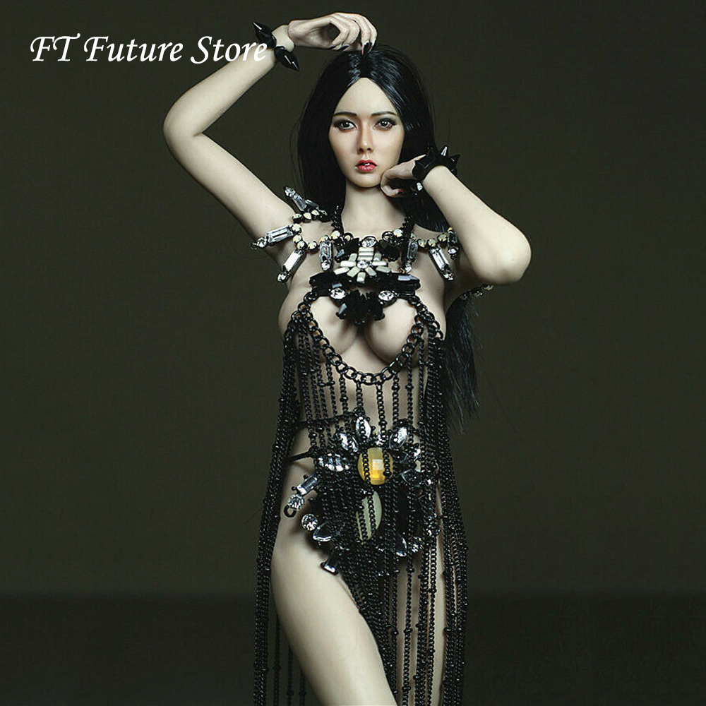 Collectible 1/6 Scale Sexy Female Black Skirt Diamond Accessories Model For 12 TBLeague Large BustAction Figure Body Doll ToysCollectible 1/6 Scale Sexy Female Black Skirt Diamond Accessories Model For 12 TBLeague Large BustAction Figure Body Doll Toys