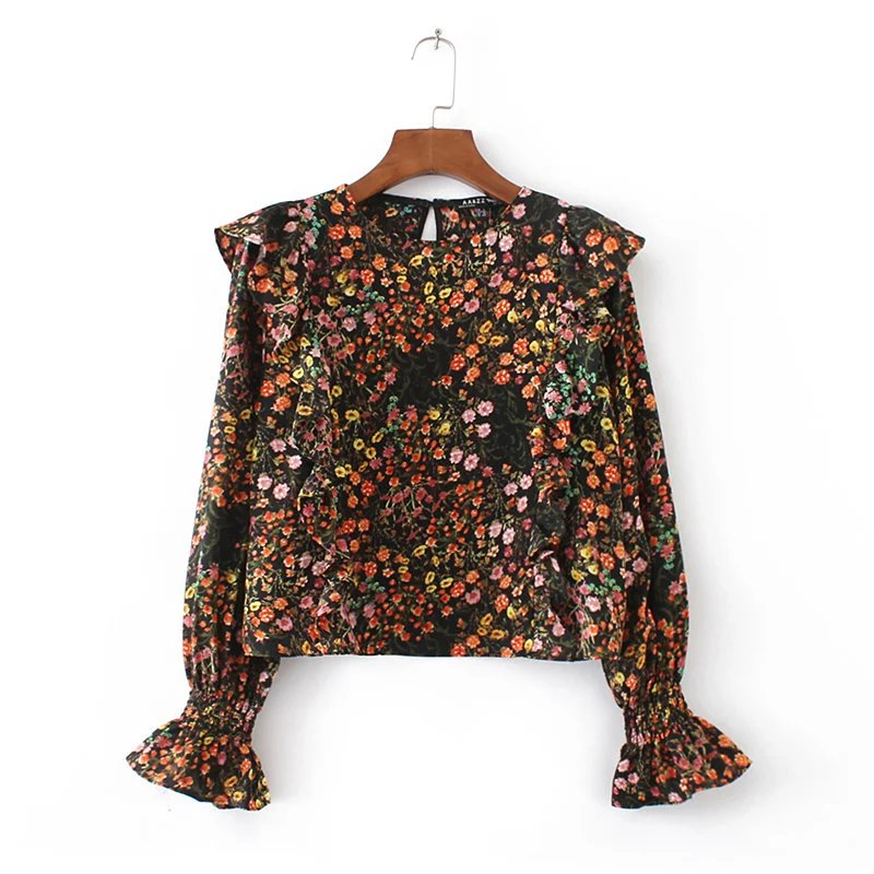 2017 Women Vintage Flower Print Pullover Short Blouses Shirt Brand Ruffle Decoration Tops O Neck Femininas Blusas LS1103
