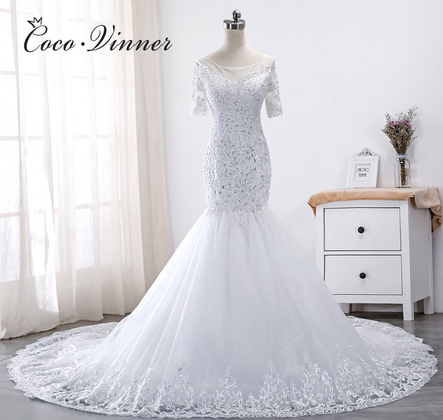 Sheer Neck Short Sleeves Embroidery Mermaid Wedding Dress 2019 New Fashion Vestido De Novia Wedding Gown Bride Dresses WX0016