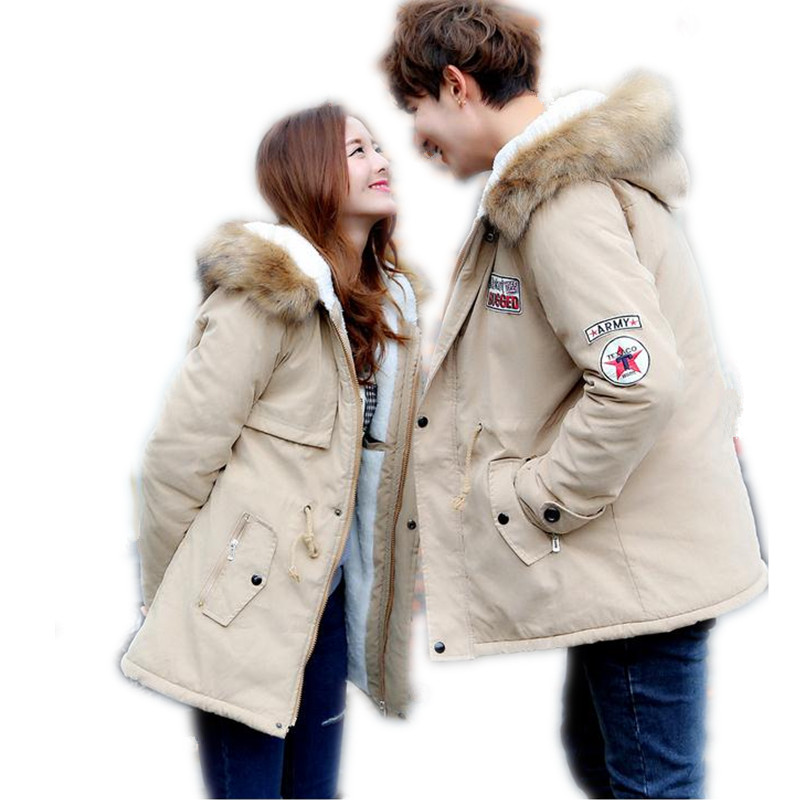 2019Russia Style Winter Couples Down Cotton Jacket   Parka   Hooded Fur Collar Thicken Slim Medium-Long Cotton Outerwear ParkaCQ411
