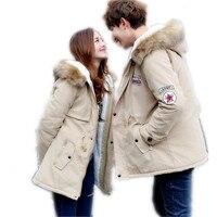 2019Russia Style Winter Couples Down Cotton Jacket Parka Hooded Fur Collar Thicken Slim Medium Long Cotton Outerwear ParkaCQ411