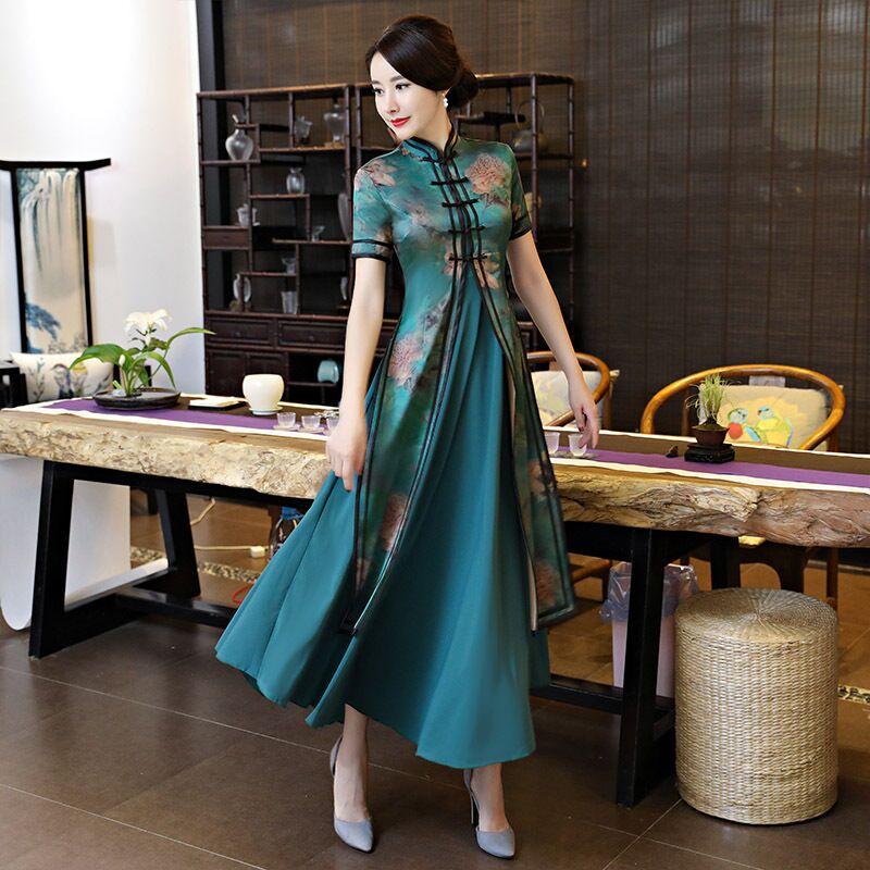 Verde Novità Primavera donne Cinesi al 2 pz Lungo Cheongsam Nobile Elegante Rayon Qipao Elegante Abito Abiti Taglia Sml XL XXL XXXL