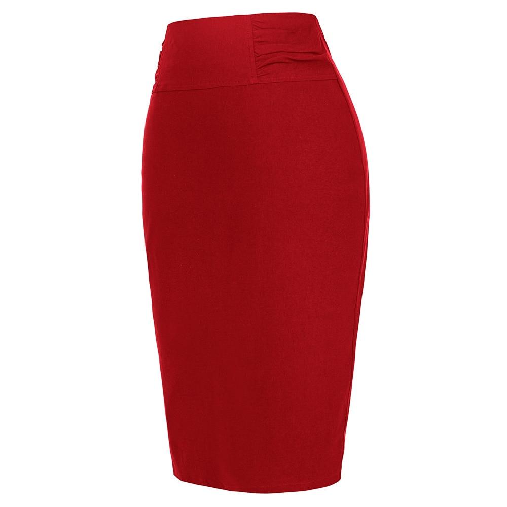 f8c6d24cb Kate Kasin mujeres de cintura alta de la cintura fruncida Bodycon lápiz  cremallera Falda corta