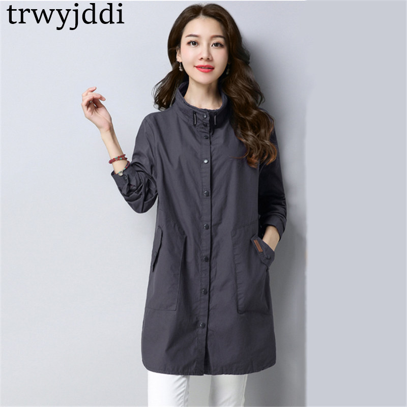 2019 New Spring Autumn   Trench   Coats for Women Outerwear Single-breasted Standing collar Windbreaker Coat Plus Size N311