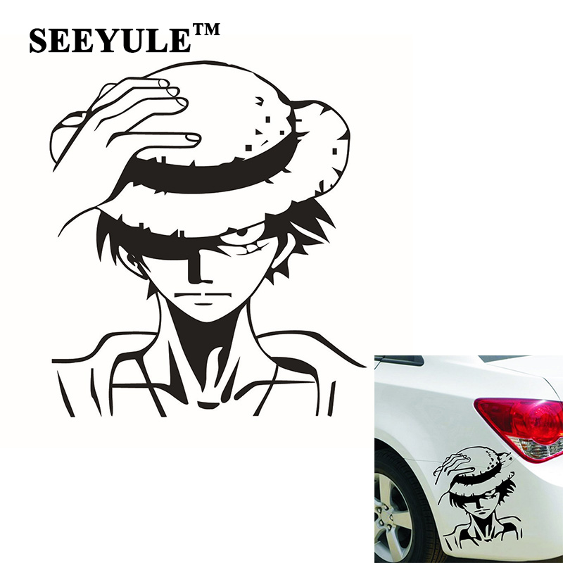 1pc SEEYULE One Piece handsome Monkey D Luffy Car Sticker Motorcycle Decal Cartoon Reflective Window Stickers for Car Truck