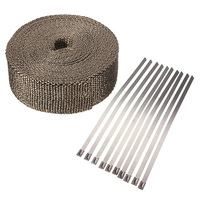 Car Motorcycle 10M X 5cm X 2mm Exhaust Heat Pipe Header Wrap 10 Cable Tie Manifold