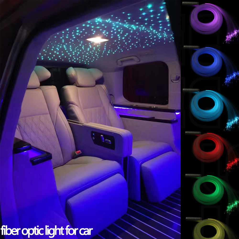 Car use DC12V 6W RGB Fiber Optic Star Ceiling kit 380strands*2M/3M with 18Key RF optical fiber Lights Engine car use 6w rgb fiber optic star ceiling light kit 1 0mm 120pcs 2m 18key rf optical fiber light engines