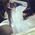 2016 mujeres del verano vestido de manga larga cintura elástico de la gasa breve vestido ocasional para mujeres más el tamaño ocasional camisetas vestidos camiseros LQ18