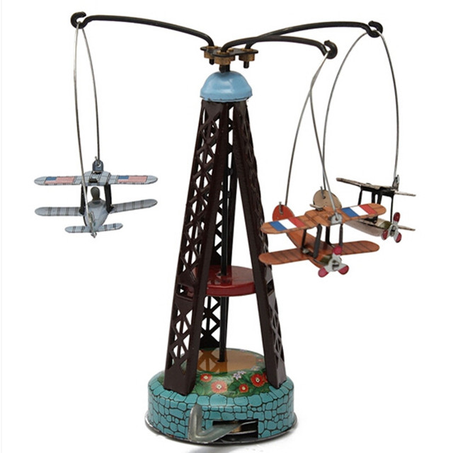 Wind Up Toy Rotating Airplane Carousel Clockwork Tin Toys, Funny Vintage Toy  for Children/Adult Gift