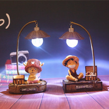Novelty 2017 Cartoon LED Night Lights Sculpture Japanese Anime One Piece Luffy Resin Crafts Ornaments Birthdays Gifts Lamps