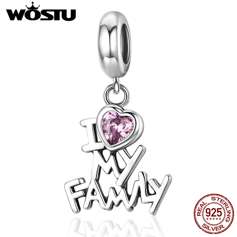 WOSTU Real 925 Sterling Silver I Love My Family Beads Dangle Fit Original Charm Bracelet Pendant Jewelry Gift CQC251 wostu 100% 925 sterling silver i love my family sweet home charm bracelet bangle for women cute girl lovely jewelry gift cqb810