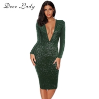 Deer Lady New Bandage 2017 Dresses Sexy Women Bodycon Sequin Dress Green V Neck Long Sleeve