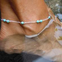Girl Hot Hand Made Green Stone Beads Anklet Foot Jewelry Legs Chain Bracelet Decorated Tornozeleira Femininas Anklets For Women(China)
