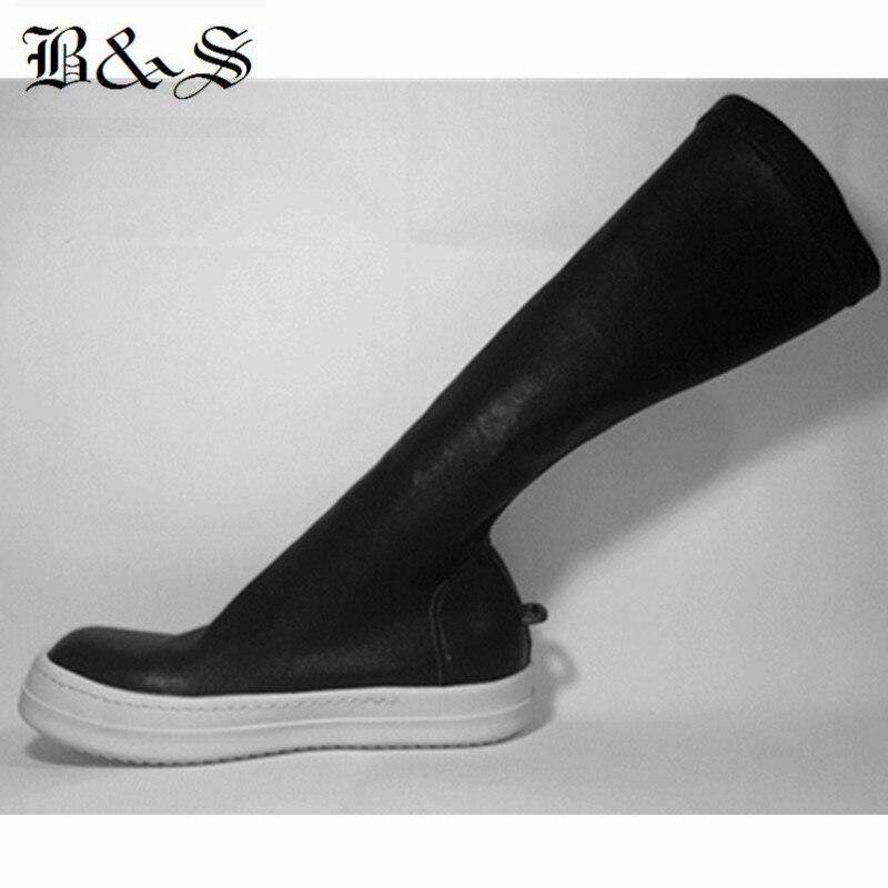 Noir & Street 2018 femmes rue Punk Rock fer crochet en cuir véritable + tissu extensible haute 38 cm chaussette bottes de luxe qualité bottes - 2