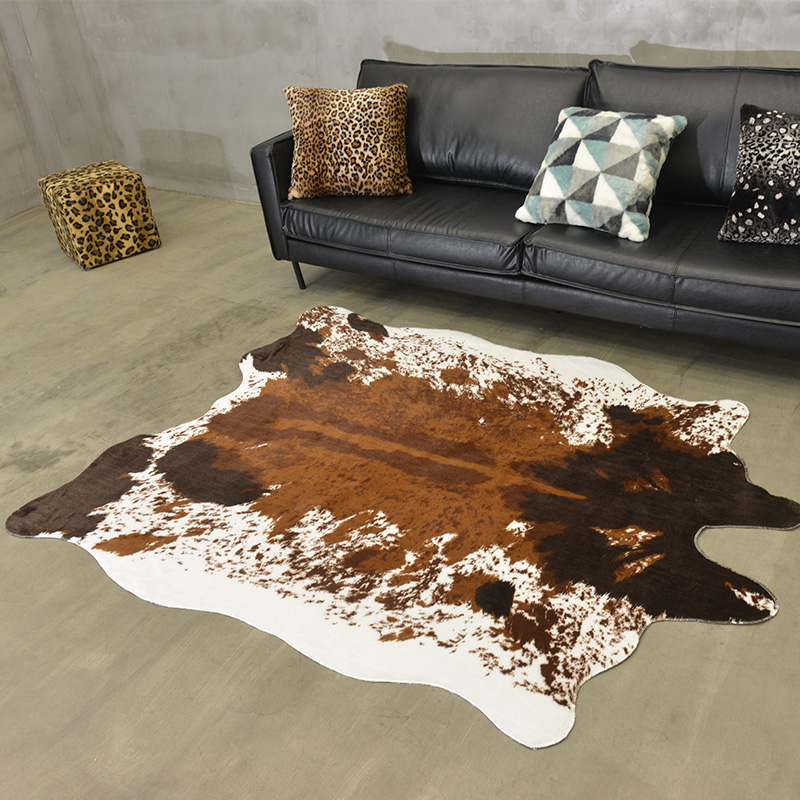 Faux Cow Skin Carpets For Living Room American Wild Bedroom Carpet Sofa Coffee Table Rug Personality Floor Mat Kids Room Rugs
