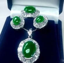 latest design Nobility beautiful stone true green gem pendant earring ring AAA size 6 9 Wedding 925 Silver fine jewelry Watch