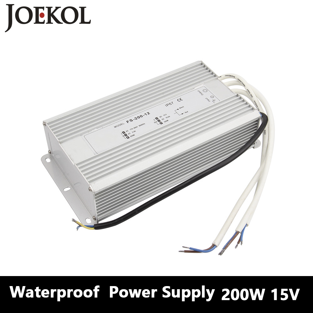 Led Driver Transformer Waterproof Switching Power Supply Adapter,,AC170-260V To DC15V 200W Waterproof Outdoor IP67 Led Strip 24v 20a power supply adapter ac 96v 240v transformer dc 24v 500w led driver ac dc switching power supply for led strip motor