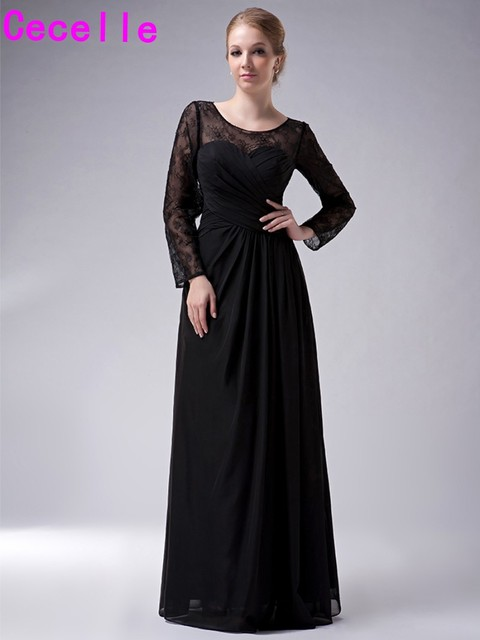 97cebf773da Black Long Floor Length Lace Chiffon Modest Mother Of The Bride Dresses  With Long Sleeves Sheer