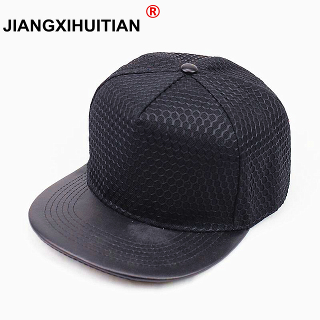 2017 NEW popular good quality snap back baseball cap men fashion women hat flat PU brim hip hop snapback cap 5 colors