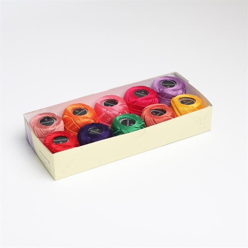 10 цветов в наборе, 5 грамм, размер 8, жемчужная хлопковая вышивка, нить для рукоделия, двойная мерсеризованная египетская длинная Штапельная ткань - Цвет: Assorted 1