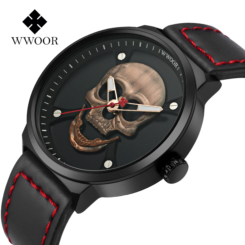 2018 Cool Punk 3D Skull Men Watch Brand WWOOR Luxury Steel Gold Black Vintage Quartz Male Watches Sport Clock Relogio Masculino